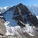 Blick zurück zum Piz Trovat mit ungefähren Position des Klettersteig-Einstiegs.