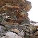 Die mit Fixseilen versicherte Stelle im Aufstieg von Pischasee zur Pischa Bergstation