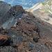 Gleich nach dem Gipfel den Fels rechts umgehen, mit blauen Punkten markiert und mit Fixseil versichert