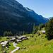 Die Alp Chäseren im Rückblick. Bis hierher konnten wir uns bequem mit dem sympathischen Alpentaxi befördern lassen.