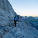 Felsige Traverse auf dem Weg zum Gletscher