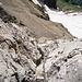 Blick von oben in die Klettersteipassage