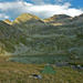 Mein Zeltplatz beim See (2309m), über dem See der Piz Malgina (2877m)