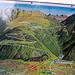 Panoramatafel - von der Talstation gingen wir über die Kapelle Oberes Bild östlich an der Bergstation vorbei über die Frassenütte auf den Gipfel. Die Markierungen dürften an den Abzweigungen vom Alpweg etwas zahlreicher/deutlicher sein.