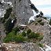 Der Bergweg geht über das Schneefeld rechts um den Felsen.