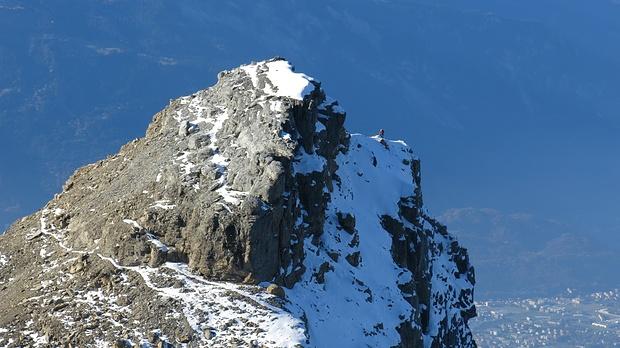 Climber on Petit Dent de Morcles - nicht trivial