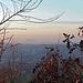 """Blick vom Haldengipfel.<br />Im Hintergrund etwas links der Bildmitte die """"Ensdorfer Bergehalde"""" mit dem [https://de.wikipedia.org/wiki/Saarpolygon Saarpolygon], einem Bergbaudenkmal - leider im Dunst nur erahnbar."""