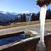 Wasser in verschiedenen Aggregatszuständen vor der Wintersonne