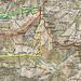 Rot die Tour /Grün Bergbahn / Gelb Rückweg über Gleitweg