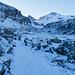 Niderenalp. Die Alpgebäude sind klein zu erkennen. Der von uns nicht erreichte Chli Chärpf zeigt sich auch schon.