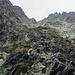 Die steile, aber nur teilweise gefährliche Rinne geht bis auf 2400 m