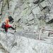 """Schlüsselstelle - nicht ganz ohne aber machbar (""""Even a woman can do it!"""" sagte mein Bergführer :-))<br /><br />Gute Nerven braucht es aber auf jeden Fall"""