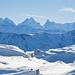 Rosenhorn, Mittelhorn, Wetterhorn, Lauteraarhorn, Schreckhorn und Finsteraarhorn zeigen sich majestätisch hinter dem Brienzergrat
