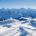 Blick zu den Berner Hochalpen und zum Brienzergrat