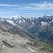 Blick hinunter ins Lötschetal und zu den Berner Alpen.