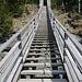 A quota 880 metri si attraversa il ponte sospeso Traversinasteg, costruito in pendenza al contrario delle normali passerelle.