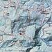 Die Route Gmeind zur Weißenfluh-Alpe und retour in blau eingetragen