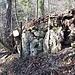 Die Überreste der ehemaligen Fritzenholz-Hütte von unten gesehen.