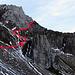 """Um auf den Grat hinauf zu gelangen, nutzen wir den """"Alten Tomlishornweg""""."""