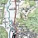 Der rote Punkt markiert das Schloss Liebegg. Östlich von P. 487 liegen die Sandsteinhöhlen.