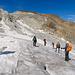 Gar nicht so einfach einen Weg durch das Spaltenlabyrinth zu finden. Aus Sicherheitsgründen hat es unser Tourenleiter vermieden, grosse Spaltenbrücken zu überschreiten. Zielsicher führte er uns mit nur wenig Umwegen den Gletscher hinab.