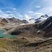 Panorama beim Aufstieg zum Rif. Claudio e Bruno mit Lago del Sabbione, Ghiacciaio del Sabbione und ganz klein dem Ofenhorn