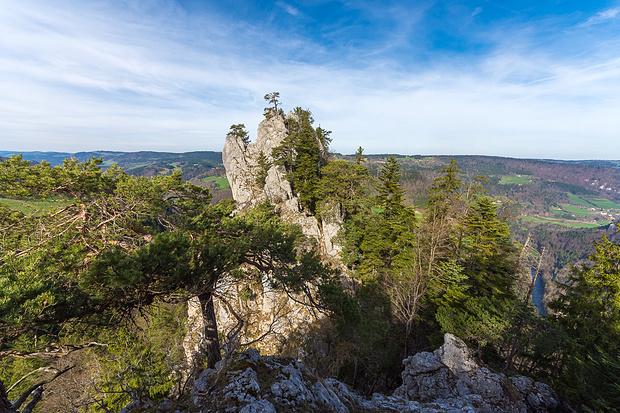 Blick zurück, rechts unten der Doubs