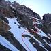 Unsere Routenwahl beim Einstieg in die Tödi Westwand (vom Sandpass aus gesehen)