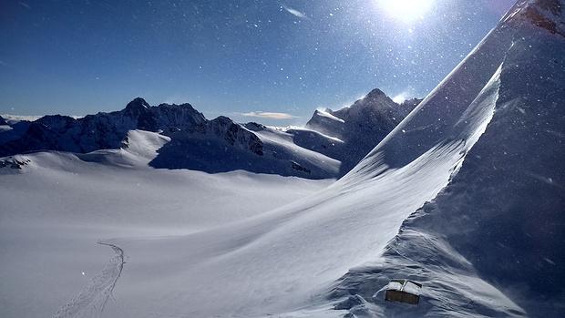 Blick von der Mönchsjochhütte aufs Ewigschneefeld