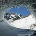 Blick aus der Eishöhle zum Bacun / Casnil (altes Gletschertor am Monte Rosso)