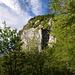 Blick vom Chemin du Vieux Mont durch das Geäst auf eine Steilwand.