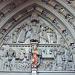 Tympanon am Hauptportal der Westfront der Kathedrale St-Nicolas Fribourg, eine Darstellung des Jüngsten Gerichts aus dem 14. Jahrhundert