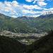 Aussicht von der Ponte Tibetano Carasc auf Monte Carasso