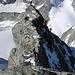Kletterei am Zinalrothorn 4221m. Klein ist der Mensch