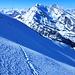 Aufstieg über die obere Kleindoldenhorn W-Flanke, darüber Balmhorn und Altels