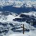 Ankunft auf dem Gipfel: über dem Rhônetal das vertraute Walliser Drei- (bzw. Vier-, Fünf-, Sechs-, Sieben- usw.) gestirn