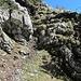 Die Kletterstelle (I, T4-) am Schrofenkörper des Westgipfels