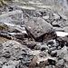 die Felsböcke stammen von einem gewaltigem Felsrutsch, weiteres Foto folgt im Abstieg