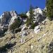Der Pilgerschrofen von Westen. Der einfachere Zugang führt übrigens im Bild rechts oben über eine Rechtsschleife hinauf (I). Auf hikr sind sonst alle sportlich direkt zum Gipfelkreuz über Spreizschritt links ober der Bildmitte hoch (II).