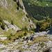 Rückblick / Tiefblick beim Zustieg zum Kamin. Wer gut schaut, sieht den Rucksack von [u Stevo47] im unteren Bilddrittel rechts, direkt neben einem grösseren Stein.