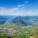 Blick von der Mythenmatt nach Schwyz, Brunnen und zum Rigi Massiv