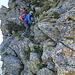 die kleine Überraschung kurz vor der Btta di Nembruno, ohne Seil eine klare II