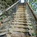 Eine letzte grosse Treppe (Rückblick). Danach wird das Gelände ziemlich sanft.
