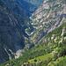 Gondoschlucht, oberhalb von Gondo. Im Vordergrund die Alp Presa-Bruciata