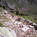 Hier begann der steile Abstieg. Nichts für Giselas Füße.