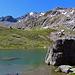 der kleine Bergsee bei der SAC Hütte, Chamanna da Grialetsch, mein Ziel der Piz Grialetsch ist noch weit entfernt.