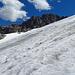 Blick über den Gletscher hinweg beim Abstieg.