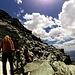 Verso il tratto esposto sotto la nostra meta, il Sasso Moro (3108 m)