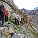 Verso i tratti tecnici di facile arrampicata ma da fare molta attenzione perchè esposti