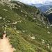 schöner Abstieg an der Bergflanke